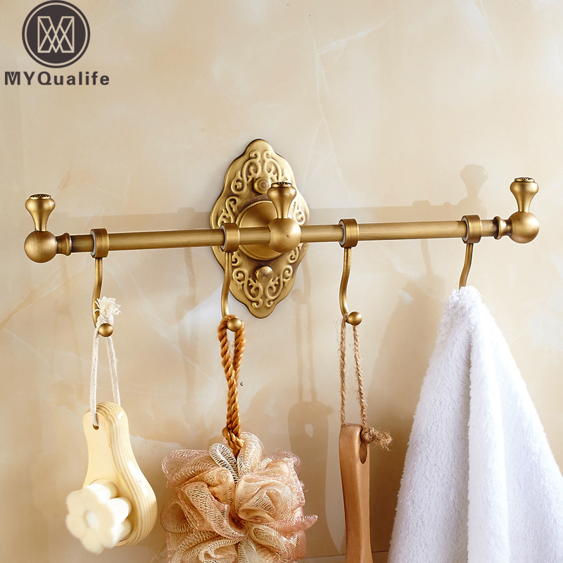 2018 New Bathroom Towel Bar with Hooks Antique Brass Artistic Bath Towel Holder Dual Rod Wall Mounted wall mount artistic double towel bar antique brass bathroom good quality dual bar towel holder