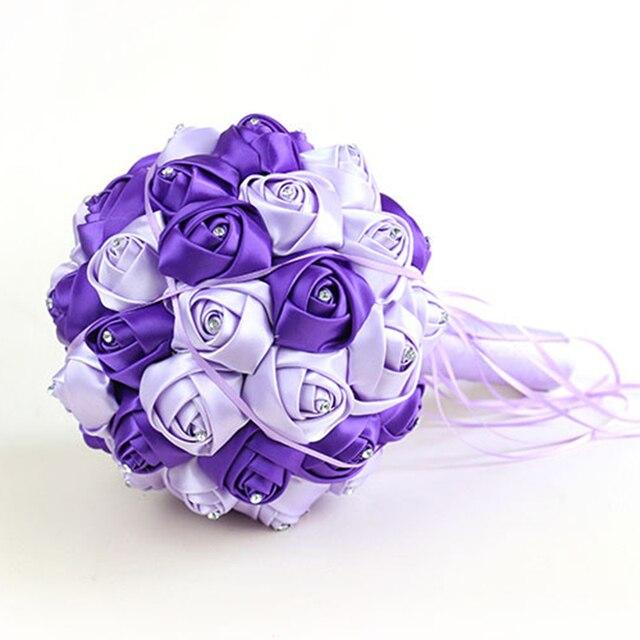 2016 New Artificial Flower Bridesmaid Wedding Bouquet Crystal Ribbons Satin Bridal Bouquet Hot  Rose Flowers Bride Bouquet  F06
