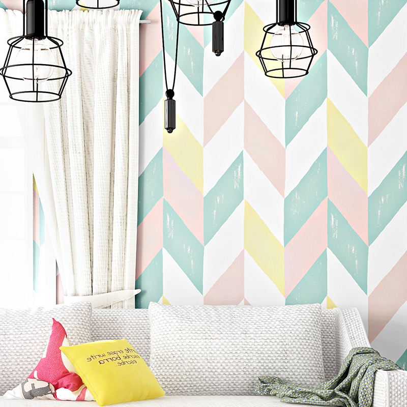 Modern Fashion Color Geometric Lattice Wallpaper For Walls Roll Korean Living Room Bedroom TV Background Wallpaper Wall Covering