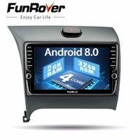 Funrover автомобильный мультимедийный плеер ips Android8.0 2 din DVD навигатор для Kia Cerato K3 Форте 2012 2016 Штатная Стерео Авторадио gps