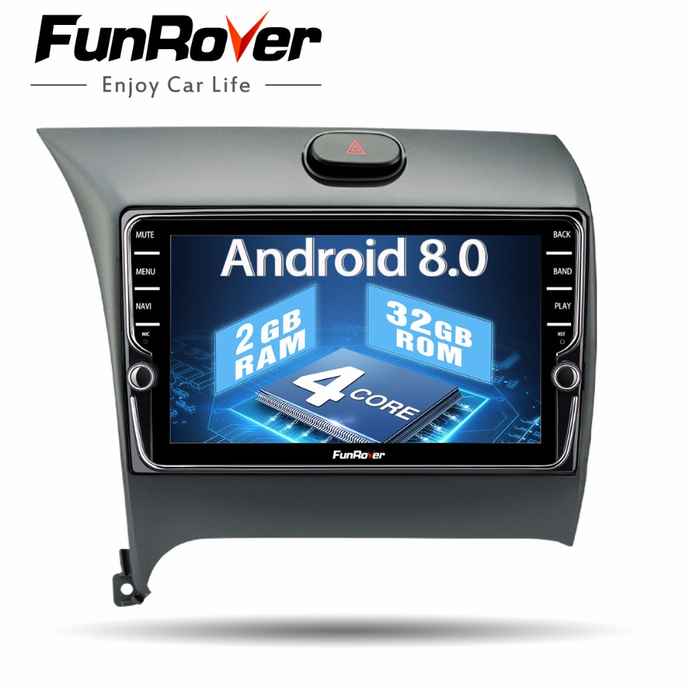 Funrover Car Multimedia player IPS Android8.0 2 din Dvd Navi For Kia Cerato K3 Forte 2012 2016 head unit Stereo Auto radio gps