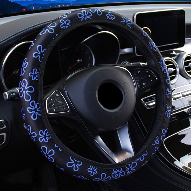 Cubierta del Volante del coche de la cubierta del Volante de 38 CM para las mujeres de la cubierta de la rueda de las flores de la impresión antideslizante Funda Volante accesorios de coche