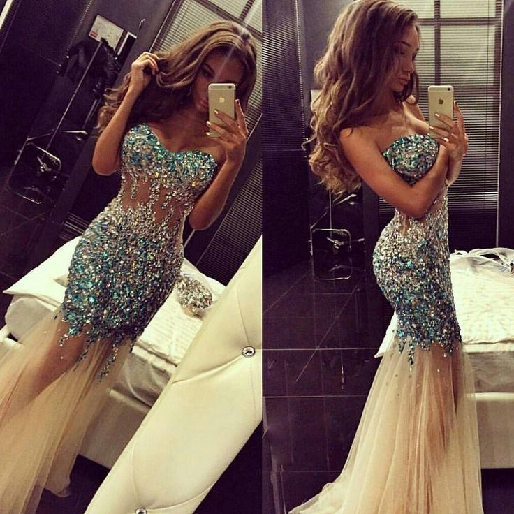 2017 Sexy Rhinestone Beaded Mermaid   Evening     Dresses   Sweetheart Champagne Tulle Long