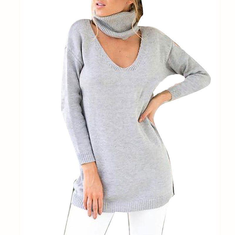 Autumn Spring Sexy Long Sweaters Knitted Dress Halter for Women V-neck Pullover Clothing Casual Long Sleeve Vestidos Female Tops