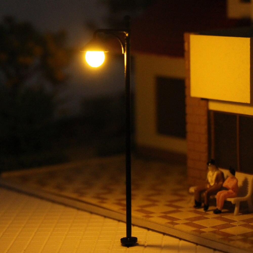 Image 3 - LYM22 10pcs Model Railway Train Lamp Post Street Lights HO OO Scale LEDs NEW Building MiniatureModel Building Kits   -