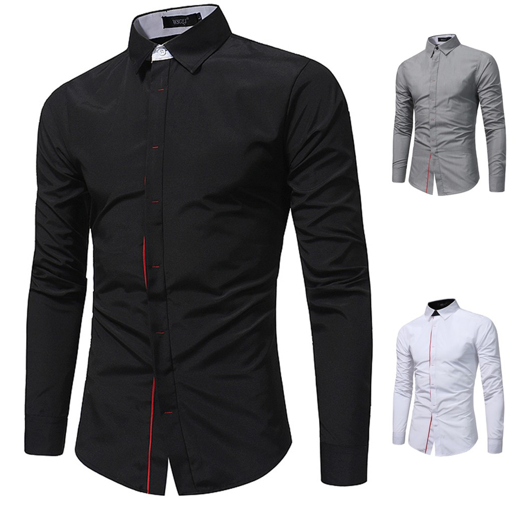 Men Shirts Men's Casual Button Turn-Down Collar Slim Fit Long Sleeve Top Shirt Male Casual camisa masculina Plus Size