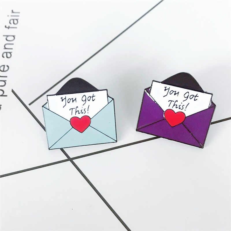 Любовь брошь в виде конверта для женщин фиолетовый синий простой Джинсовый платье куртки рубашка сумка значок эмалированные Броши Модные Ювелирные изделия Подарки