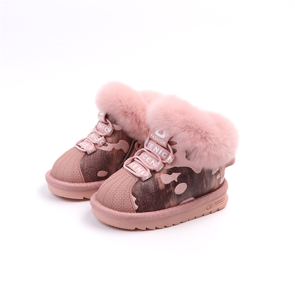 Boys Girls Snow Boots PU Camouflage Kids Winter Shoes Warm Plush Boots Leather With Rabbit Hair High Grade Children Shell Shoes