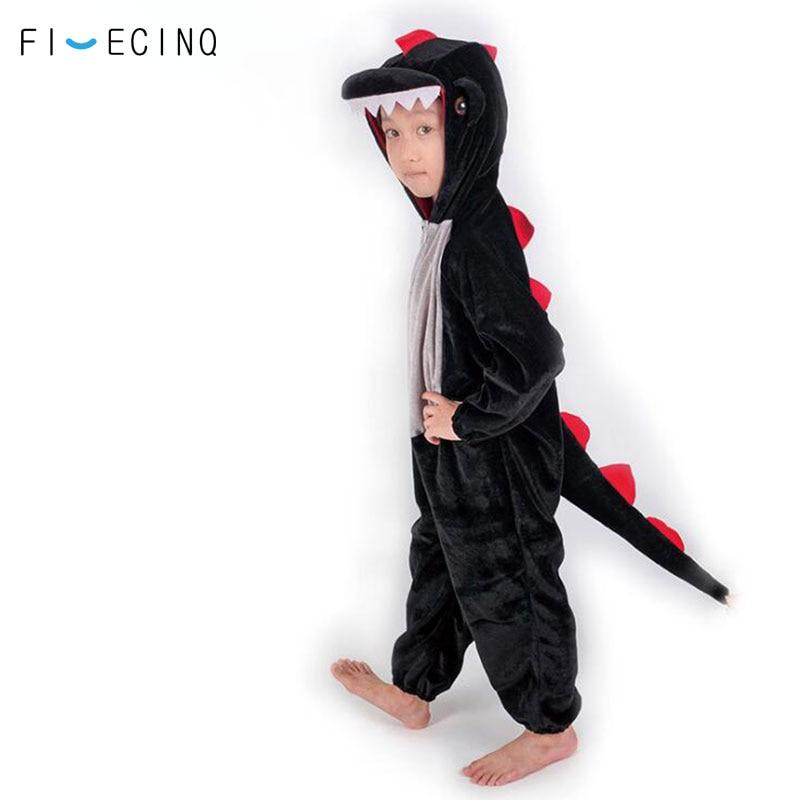 Black Dinosaur Costume Kids Animal Kigurumi Cosplay Suit Boy Girl Party Play Game Fantasias School Home Festival Funny Pajama