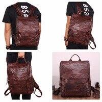 Мужской рюкзак из натуральной кожи, винтажный повседневный рюкзак для ноутбука, мужская дорожная сумка, рюкзаки высокого качества для школ