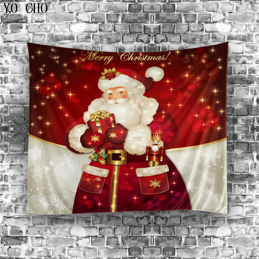 Cute santa claus towel christmas decor - Yo Cho Home Decor Beach Space Wall Hanging Yoga Towel Door Rectangle Polyester Wall Carpet Santa Claus Christmas Wall Tapestry