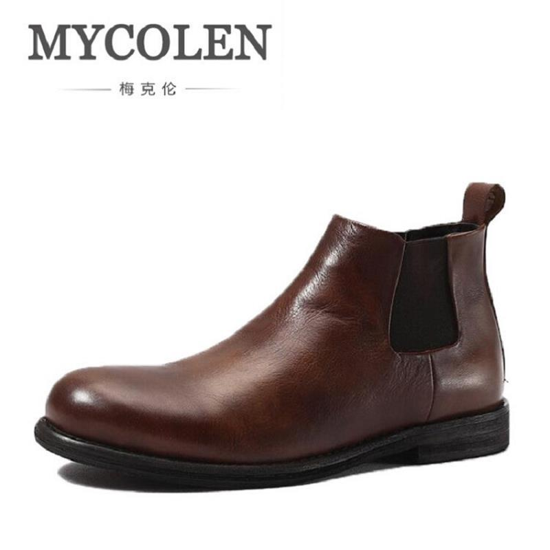 MYCOLEN Brand Luxury Fashion Leather Boots Classic Brown Formal Ankle Boots Classic Genuine Leather Men Shoes botas hombre cuero new fashion men luxury brand casual shoes men non slip breathable genuine leather casual shoes ankle boots zapatos hombre 3s88