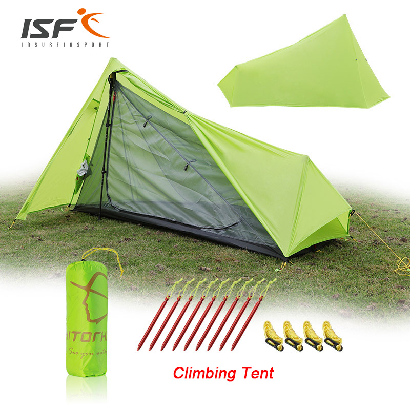 ISF Oudoor Ultralight Single Layer 15D Nylon Camping Tent Waterproof Shelter Sunshade Camping Equipment Travel Tent outdoor double layer 10 14 persons camping holiday arbor tent sun canopy canopy tent