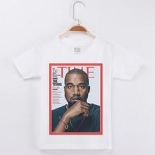 Kids T-shirts Kanye West Rap Singer Printed White 100% Cotton Short Sleeve T shirt Boys Children Clothes Girls Tops Tee Shirts