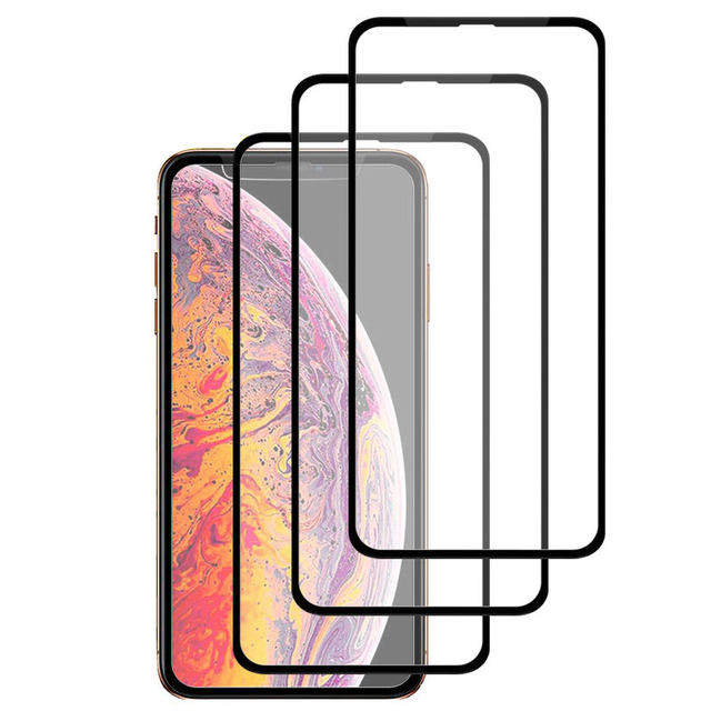 3Pcs Full Cover Screen Protector For iPhone X XR XS Max Tempered Glass On The For iPhone 5 6 7 8 Plus Protective Glass Window