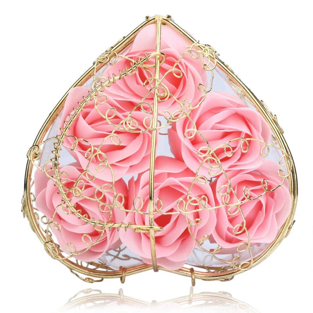6Pcs Scented Rose Flower Petal Bath Body Soap Wedding Party Gift Home DIY Decoration (Pink)