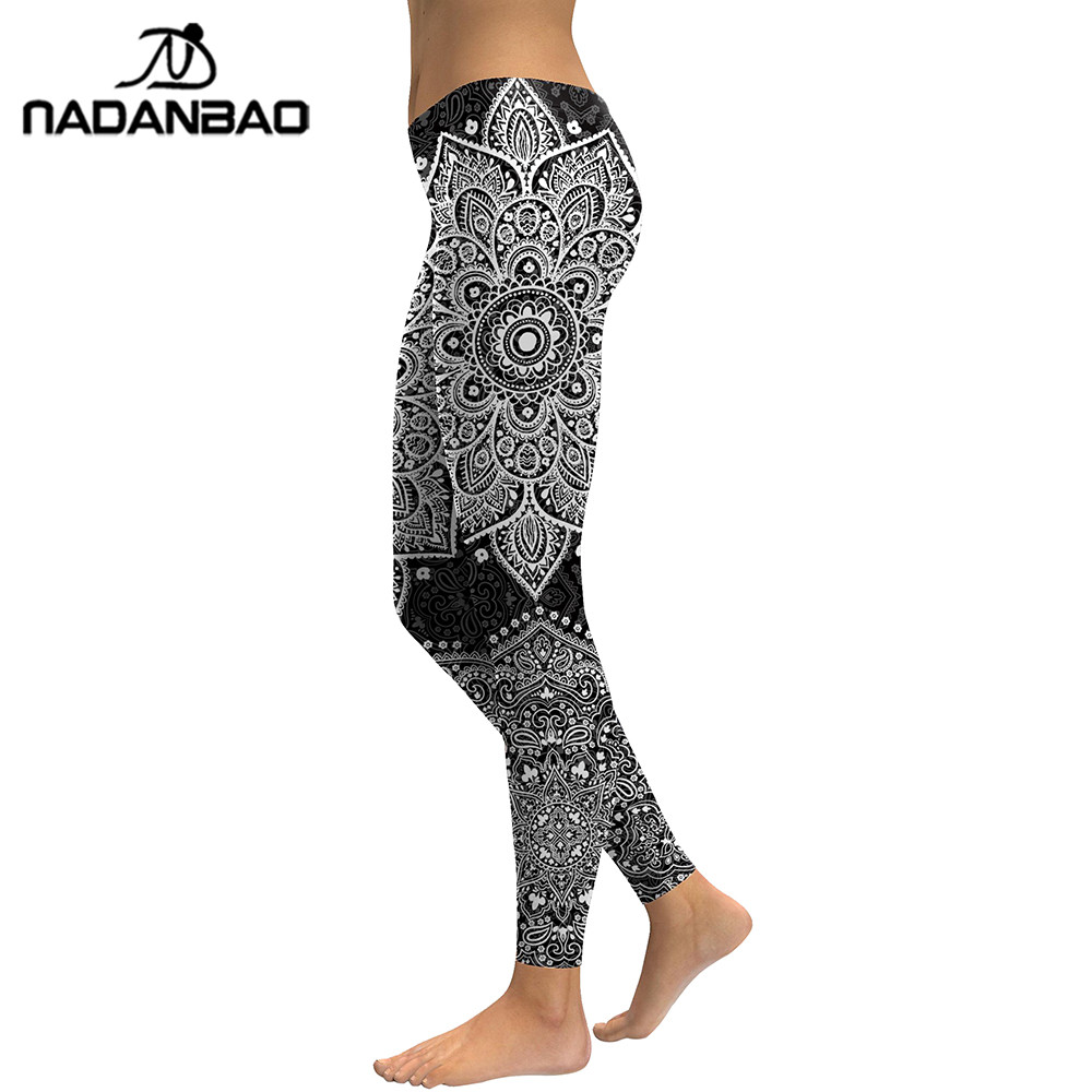 NADANBAO 2018 Grey Mandala Leggings Women Flower Digital Print Plus Size Fitness Legging Workout High Waist Womens Clothing 1
