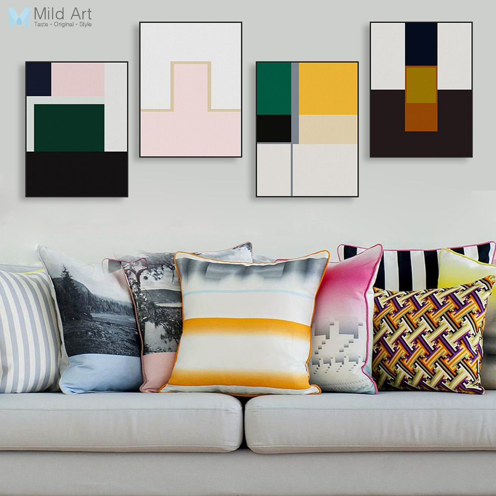 Abstract Color Geometric Shape Canvas Big Nordic Canvas Paintings ...