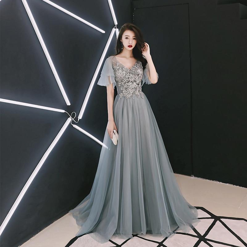 Sexy Backless   Evening     Dress   a Line Half Sleeve V-neck Appliques Beading Prom   Dresses   2019 New Floor Length Vestido De Festa