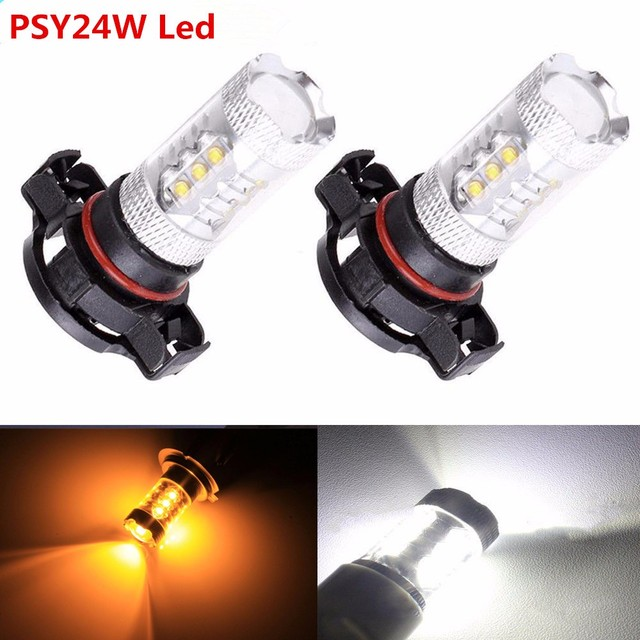 2Pcs NEW 80W PSY24W HIGH POWER XBD CREE CHIPS LED AMBER INDICATOR BULBS For BMW & OTHER CARS CANBUS FREE ERROR