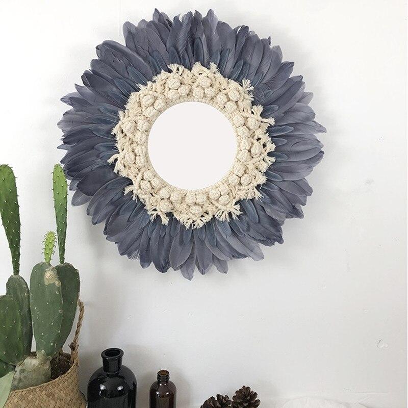 Rond fait main tapisserie plume verre miroir rond mur décoratif miroir Art créatif maison décorative R1642