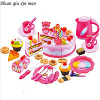 80Pcs Kitchen Toys Pretend Play Cutting Birthday Cake Food Toy Tableware Cocina De Juguete Plastic Play