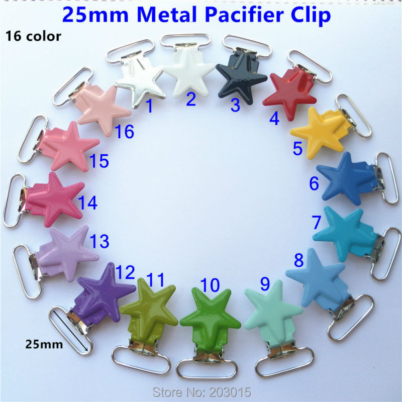 500pcs lot 1 25mm star metal suspenders soothers holder clips for baby dummy pacifier Chain clips