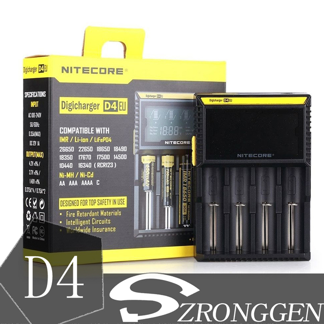 100% Original NItecore D4 Digi charger For 18650 14500 18350 Li-ion & Ni-MH AA AAA 18650 14500 16340 26650 Battery Charger
