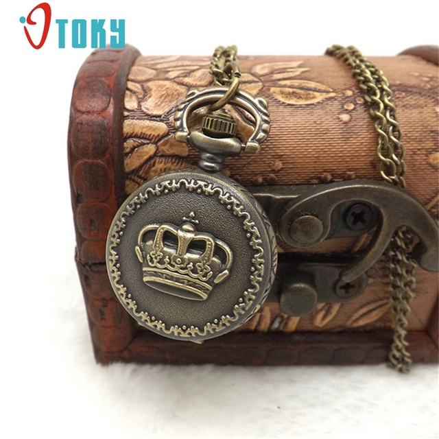 OTOKY bronze antique Vintage crown pocket watch necklace with chain For women cl