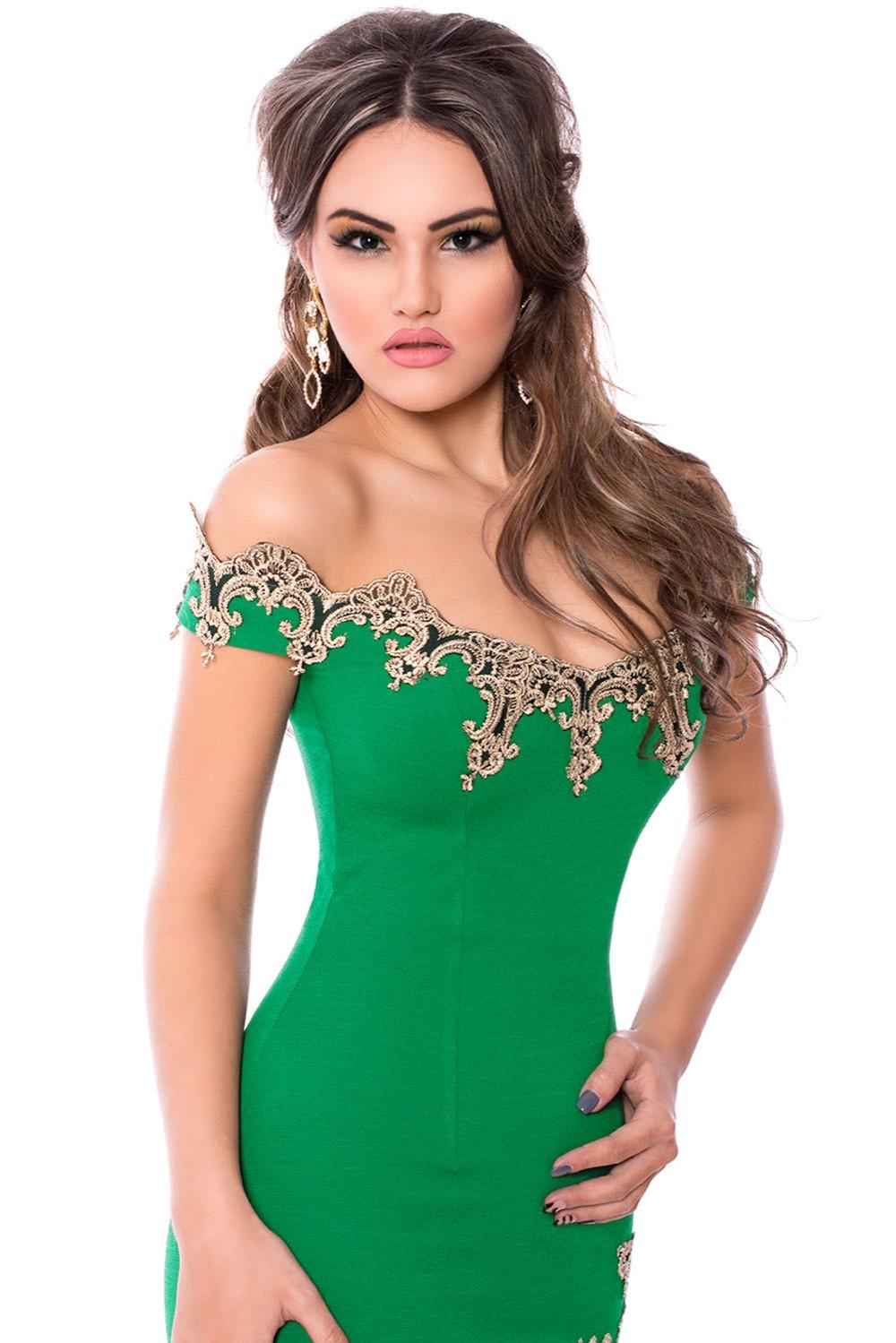 Gold-Lace-Applique-Green-Off-Shoulder-Mini-Dress-LC22715-9-2