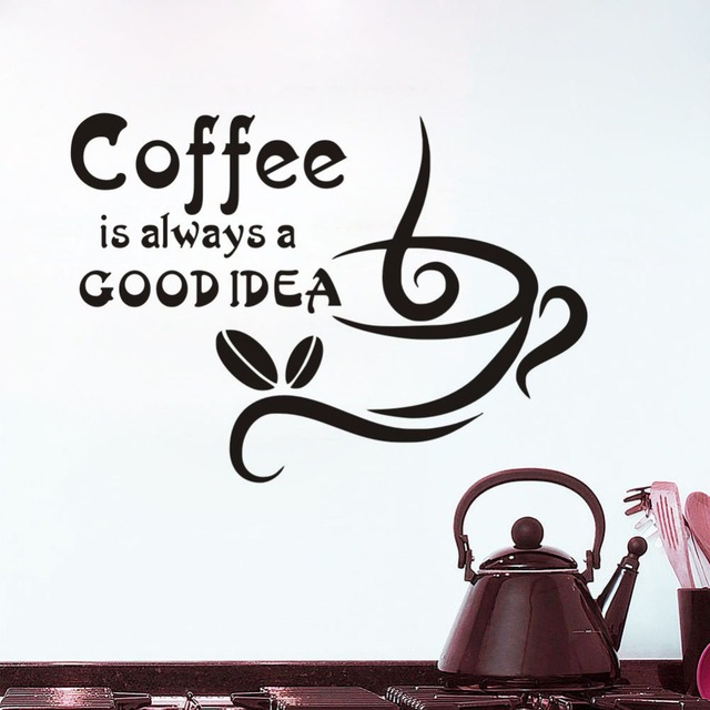 Coffee Is Always A Good Idea Coffee Quote Wall Stickers Home Decor on pantry decals, living room decals, kitchen floor decals, stained glass decals, paint decals, refrigerator decals, kitchen soffit decals, kitchen appliance decals, kitchen shelf decals, door decals, ceiling fan decals, bath decals, kitchen cabinet decals, kitchen windows over sink, dining room decals, kitchen art decals, kitchen wall decals, security system decals, kitchen tile decals, fireplace decals,