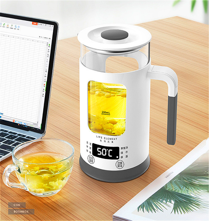 A,Automatic Electric kettle visible teapot Smart touch Thicken glass health water bottle 600W 600ml Stainless steel base