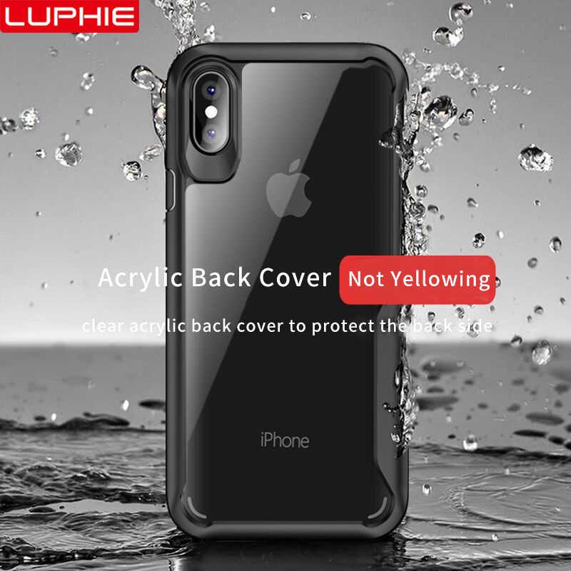 LUPHIE غلاف واقي مضاد للصدمات حقيبة لهاتف أي فون XS XR 8 7 زائد شفافة حالة تغطية ل iPhone 6 6S زائد 5 XS ماكس الفاخرة غطاء من السيليكون