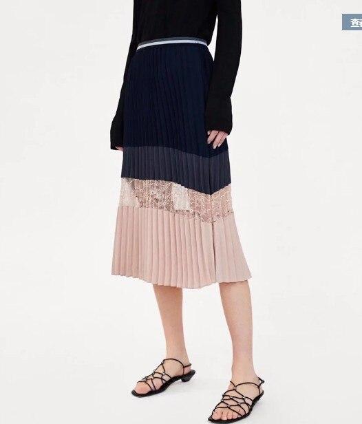 Plisadas Real Envío Moda De En Encaje Patchwork Libre Azul Alta Cintura Stock Faldas Falda OOx4zqw