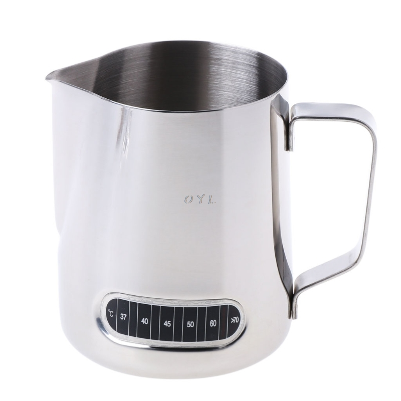 Stainless Steel Milk Frothing Jug Barista Coffee Pitcher With Thermometer 600ml
