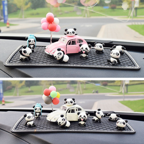 8PC Personality Panda Car Jewelry Ornaments Cute Car Decoration High-end Car Central Control Interior Auto Products Accessories Lahore