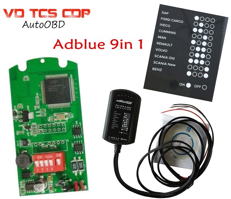 DHL (28PCS) Best A+Quality Universal Adblue 9in1 Adblue Emulation 9 in 1 NOT ANY SOFTWARE For 9 Type Trucks