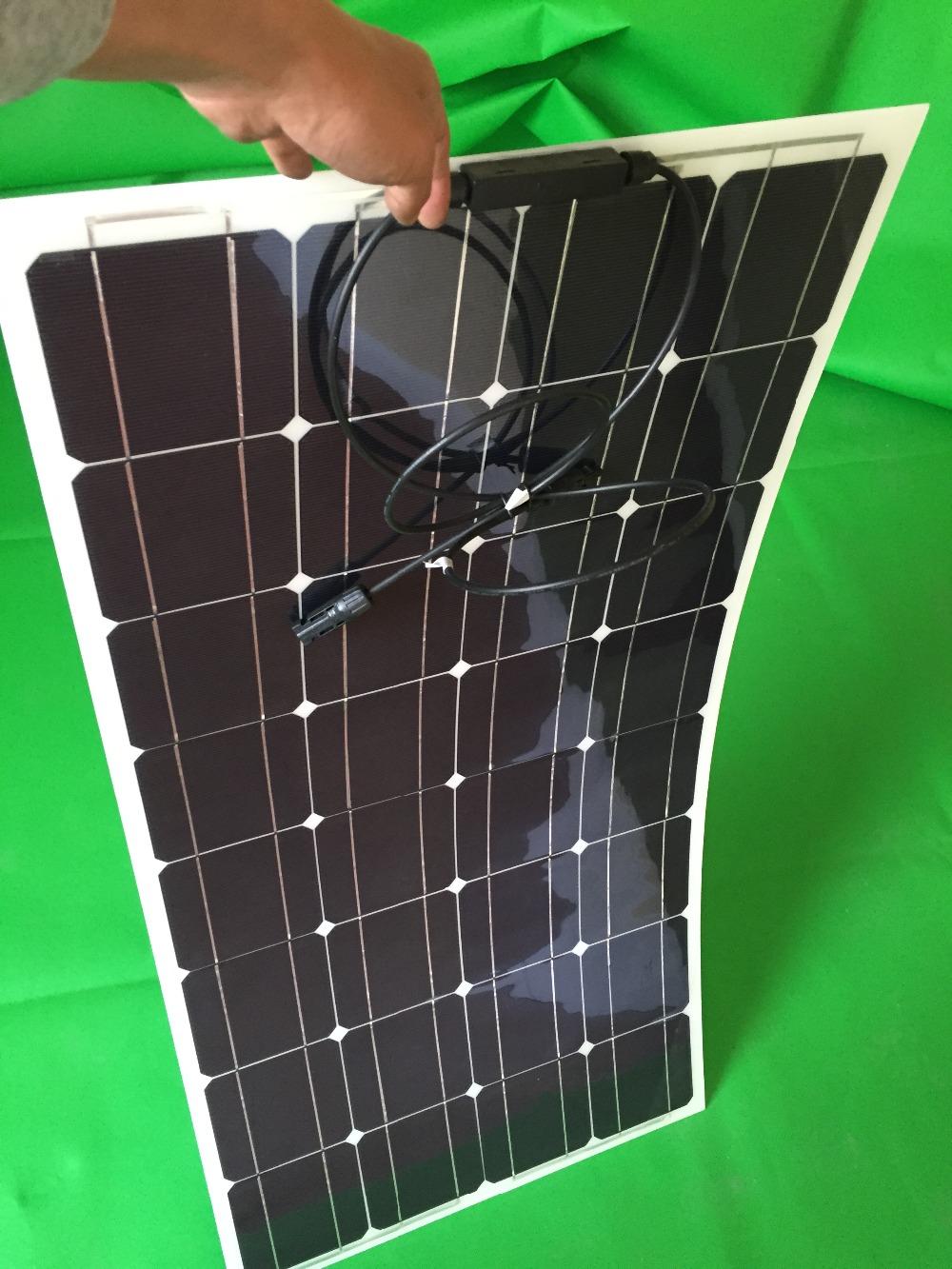 Prix pour Prix usine Détail panneau solaire 100 w; semi flexible panneau solaire 100 w; mono cellule solaire 125*125mm pour 12 V chargeur de batterie