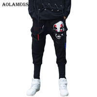Aolamegs Pants Men Pants Clown Print Ribbon Long Trousers Pants Mens Tactical Elastic Waist Fashion Joggers Sweatpants Brand