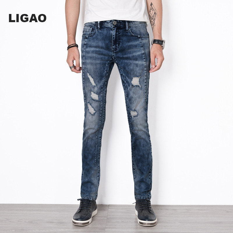 LIGAO Men's Jeans Casual Male Elastic Slim Pants trousers Jean Blue Distressed Denim Washing Ripped Hole Patchwork Men Jeans ripped skinny jeans men stretch hole jeans cool jean slim homme all match trousers casual pants elastic male long pants men 226