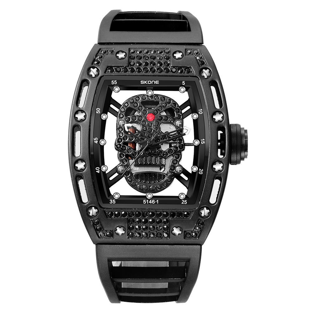 2018 New skone Mens Fashion Military Silicone Strap Rectangle Dial Skull Face Men Watches Wrist Watches 3D Scrub Dial Genuine
