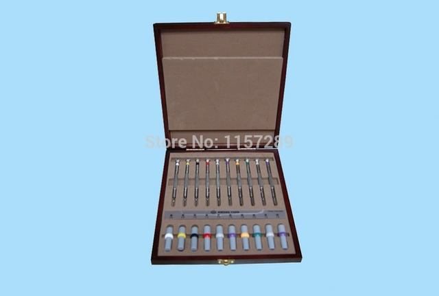 Stainless Steel 10 pc Stainless Steel Precision  Watch Screwdriver Set in Wooden Case