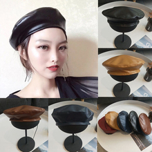 a7367338a37 Fashion Vintage Faux PU Leather Beret Hat Women Men Autumn Winter Flat Cap  Solid Black Coffee. 5 Colors Available