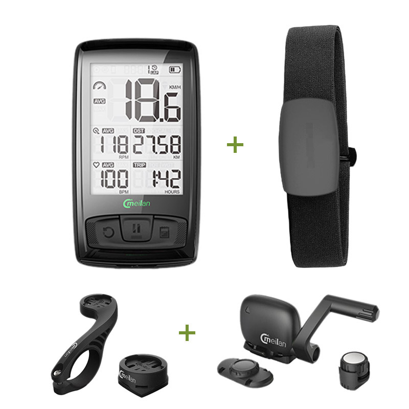 цена Wireless Bicycle Computer Bike Speedometer Tachometer Cadence + Speed Sensor Weather SETB with Bluetooth Heart Rate Monitor