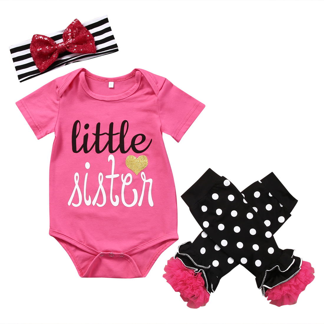 3PCS Set Newborn Baby Girl Clothes Little Sister Romper Jumpsuit+ Leg Warmer+Headband Outfit Bebek Giyim Clothing Outfits 0-24M pink newborn infant baby girls clothes short sleeve bodysuit striped leg warmers headband 3pcs outfit bebek clothing set 0 18m