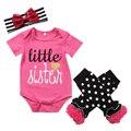 3PCS Set Newborn Baby Girl Clothes Little Sister Romper Jumpsuit+ Leg Warmer+Headband Outfit Bebek Giyim Clothing Outfits 0-24M