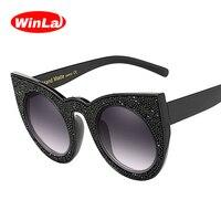 Winla Fashion Design Women Sunglasses Classic Cat Eye Sun Glasses Crystal Print Vintage Frame Shades Oculos