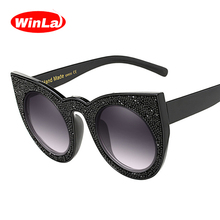 Winla Fashion Design Women Sunglasses Classic Cat Eye Sun Glasses Crystal Print Vintage Frame Shades Oculos de sol UV400 WL1138