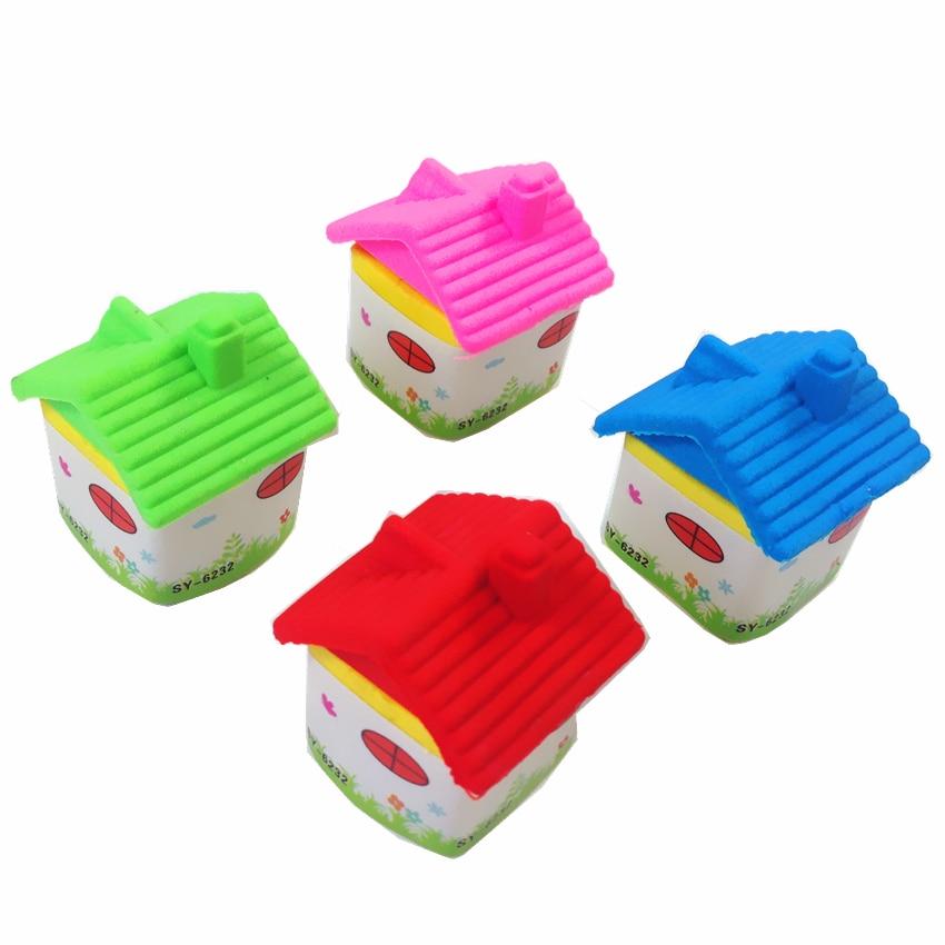 24pcs/lot New Novelty Cartoon Simulation House Mini Eraser Rubber Office And Study Eraser Kids Gift Wholesale