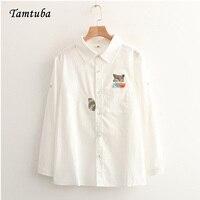 Woman Cute Cartoon Fox Raccoon Embroidery White Long Sleeve Blouses Shirt Cuff Button Girl Female Mori